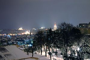 View of Beyoğlu on a snowy winter night