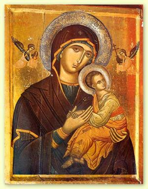 Icon of Mary holding the child Emmanuel (16th ...