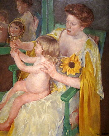 English: Mother and Child (1905, Mary Cassatt)...
