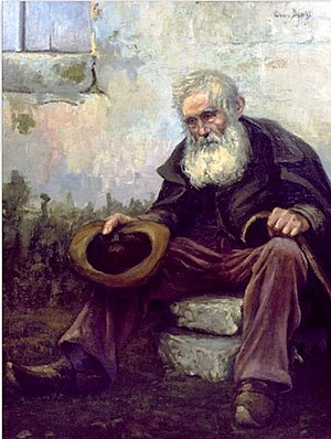 Old Beggar, 1916, by Louis Dewis, painted just...