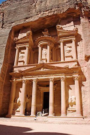 Petra's Treasury (al-Khazneh) in southern Jordan.