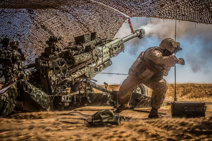 U.S. Marines with the 11th Marine Expeditionary Unit fire their M777 Howitzer during a fire mission in northern Syria as part of Combined Joint Task Force - Operation Inherent Resolve, Mar. 24, 2017