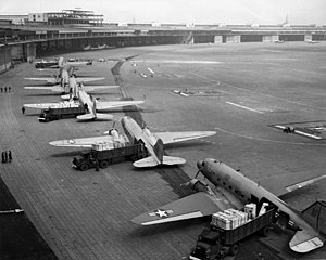 C-47s unloading at Tempelhof Airport in Berlin...