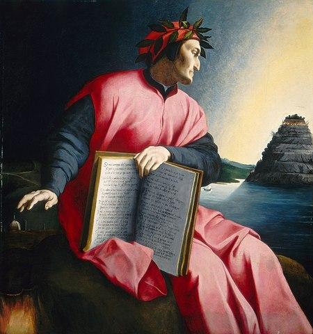 Dante schaut auf den Läuterungsberg. Gemälde von Agnolo Bronzino (1530)