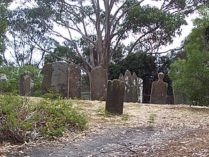 English: Photo of gravestones on Isle of the D...