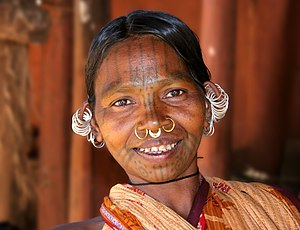 English: An ethnic Adivasi woman from the Kuti...