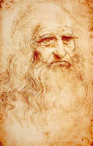 Self-portrait of Leonardo da Vinci. Red chalk....