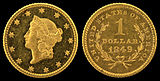 Gold dollar, obverse and reverse