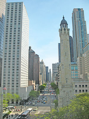 English: The Magnificent Mile is generally con...