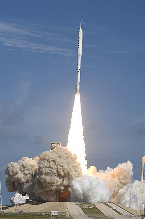 Ares I-X launches from Kennedy Space Center la...