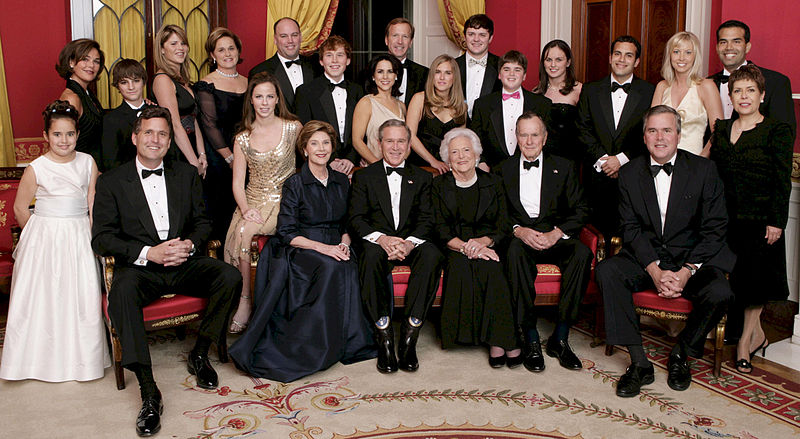 File:George W. Bush and family.jpg