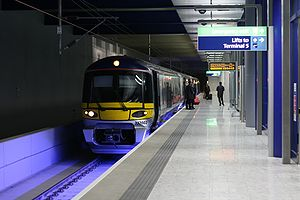 Heathrow Express train prepares to depart from...