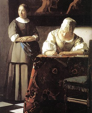 Johannes Vermeer - Lady Writing a Letter with ...