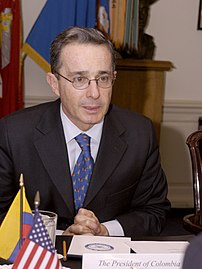 Colombian President Alvaro Uribe meets with Se...