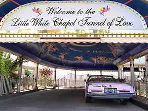 The Little White Wedding Chapel drive thru tun...