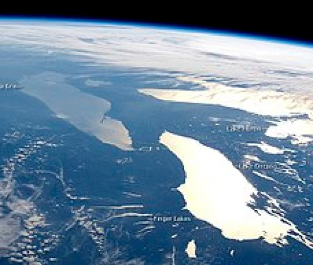 Photograph Of Lakes Ontario Erie And Huron Plus The Finger Lakes Of Upstate New York June   Taken Aboard The International Space Station