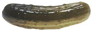 a large, whole, deli pickle