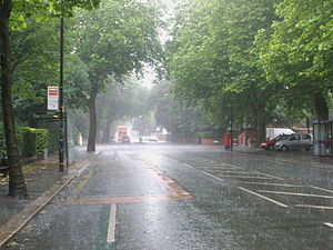English: Upper Chorlton Road in the summer rai...