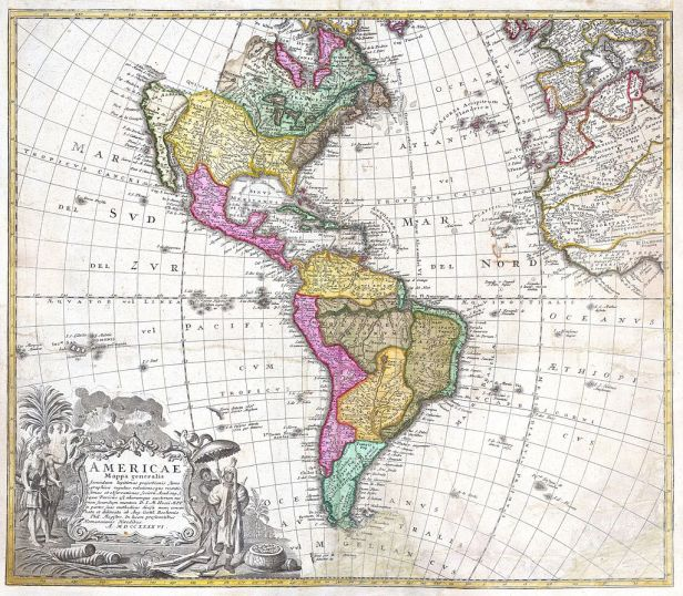 1746 Homann Heirs Map of South ^ North America - Geographicus - Americae-hmhr-1746