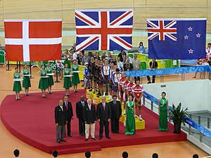 The Danish flag at the medal ceremony for the ...