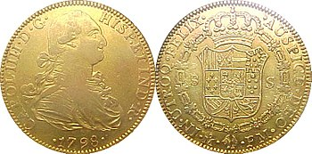 English: Spanish doubloon stamped as minted in...
