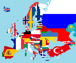 Map of Europe, with coloured flags