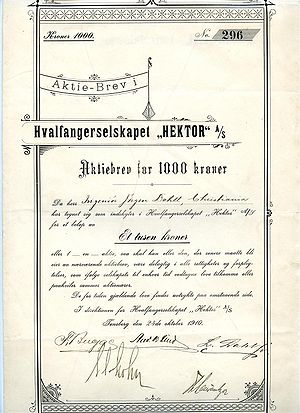 English: Stock certificate for the Norwegian w...