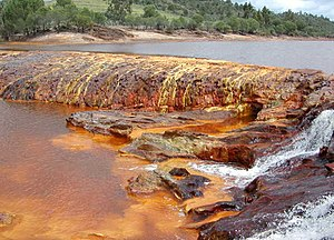 Water colored by oxidized iron, Rio Tinto, Spain