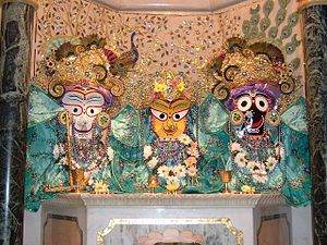 Jagannath, Baladev and Subadra in Radhadesh