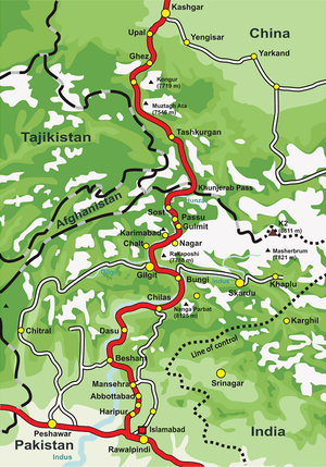 Overview map of the Karakoram Highway