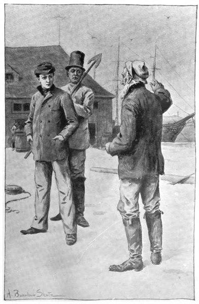 Ismael y Queequeg antes de abordar el Pequod