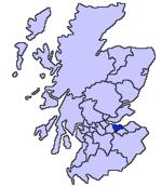 La zona azul indica la localización de Edimburgo en el mapa de Escocia