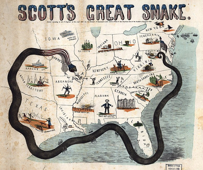 "Scott's great snake. Cartoon map illustrating Gen. Winfield Scott's plan to crush the Confederacy, economically. It is sometimes called the ""Anaconda plan."""