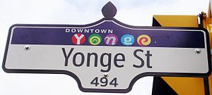 A street sign for Yonge Street, in the Downtow...
