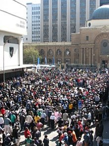 A crowd of supporters and the curious outside the Johannesburg High Court.