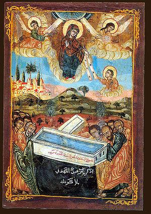 Coptic icon /Dormition of Virgin Mary/