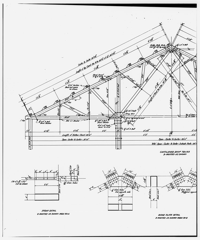 File 52 photocopy of drawing ammonia leaching plant roof truss details sacking shed flotation unit kennecott copper corp loc