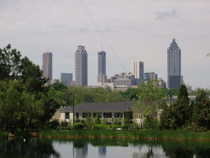 Part of the Downtown Atlanta skyline from a di...