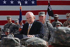 Vice President Dick Cheney speaks to a crowd o...