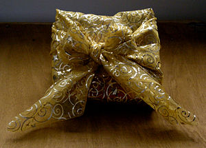 Christmas gift wrapped in furoshiki style (Vie...