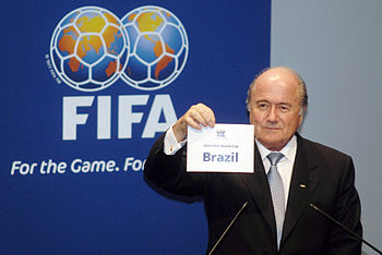 English: Joseph Blatter announcing 2014 World ...