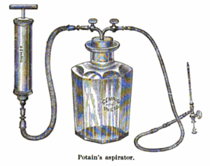 English: Engraving of Potain's aspirator, a me...