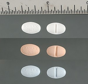 Xanax 0.25, 0.5 and 1 mg scored tablets