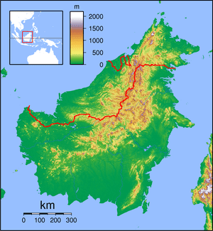 Topographic locator map of Borneo. Created wit...