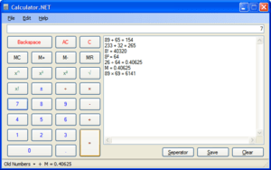 Screenshot of Calculator.NET, a Free Open Sour...