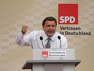 Bundeskanzler Gerhard Schröder bei einer Wahlk...
