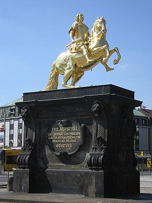 equestrian statue Goldener Reiter in Dresden, ...