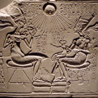 Akhenaten and Nefertiti with their Children