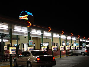 Sonic Drive in at night in Jacksonville, AR.