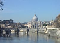 St. Peter's Basilica from the River Tiber. The...